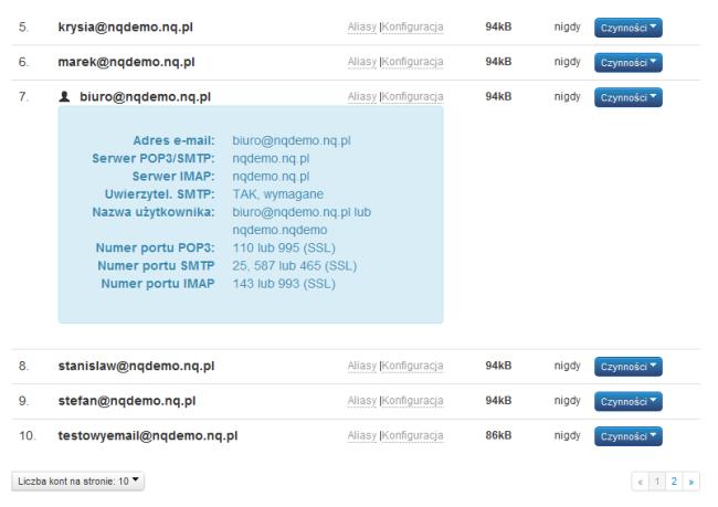 Lista kont email - panel administracyjny NQ.pl