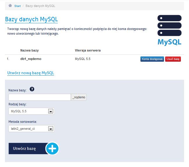 Tworzenie bazy danych - panel administracyjny NQ.pl