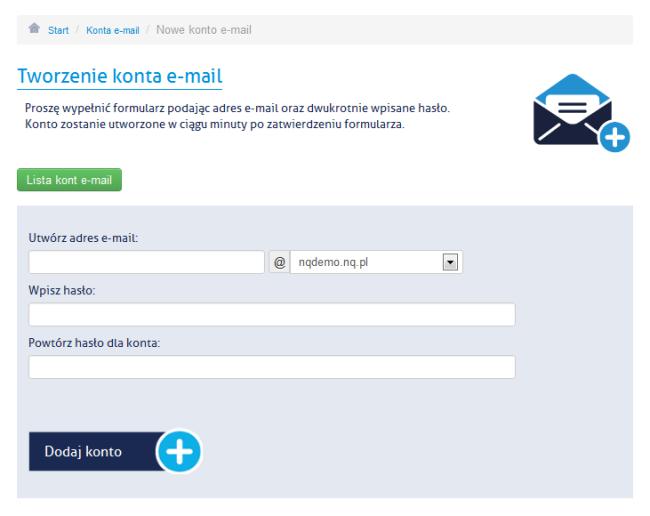 Tworzenie konta email - panel administracyjny NQ.pl