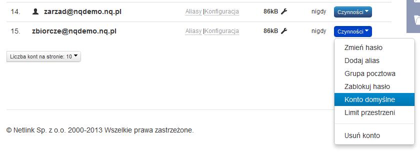 Konfiguracja konta - panel administracyjny nq.pl