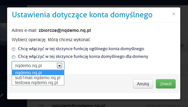 Wybór odpowiedniej domeny konta domyślnego - panel administracyjny nq.pl