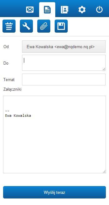 Tworzenie nowej wiadomości email w mobilnej wersji webmaila nq.pl