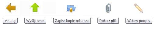 menu tworzenia wiadomości email - webmail nq.pl