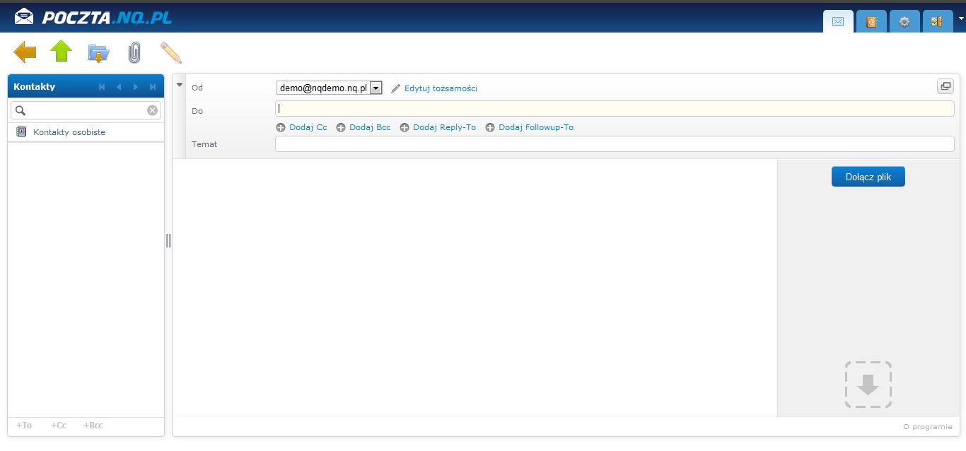 tworzenie wiadomości email - webmail nq.pl