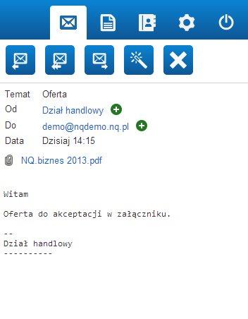 widok odebranej wiadomości webmail mobile nq.pl