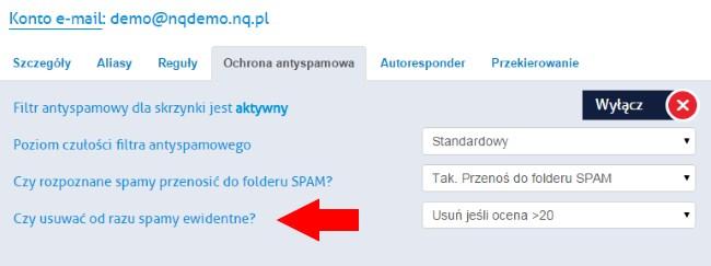 opcje antyspamowe NQ.pl